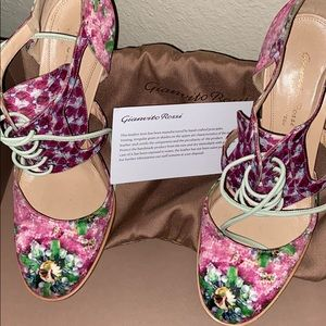 Gianvito Rossi Satin Floral Ankle Pumps/Booties